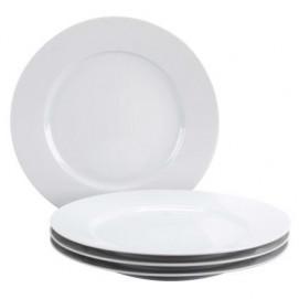 Set of 4 French Classics white dinner plates 2 sizes
