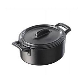 Belle Cuisine black cast iron style individual cocotte with lid
