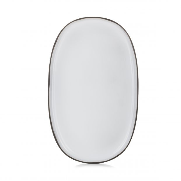 extra large oval service plate caractere, white cumulus