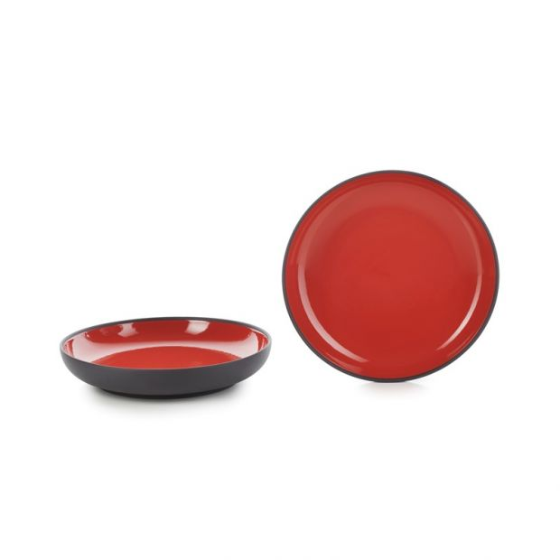 Set of 2 Solid pepper red pasta bowls 2 sizes