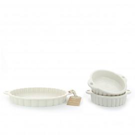 Set of 2 pieces Les Naturels soft cream tart dish & ramekins