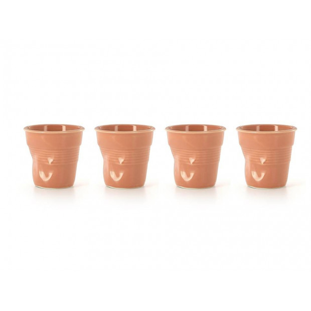Set Of 4 Crumpled Cups Peach Espresso Cups Coffee Cups