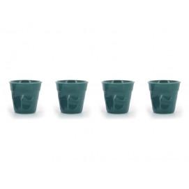 Set of 4 crumpled cups laguna green