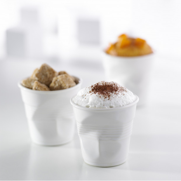 Set of 4 crumpled cups white 2 sizes