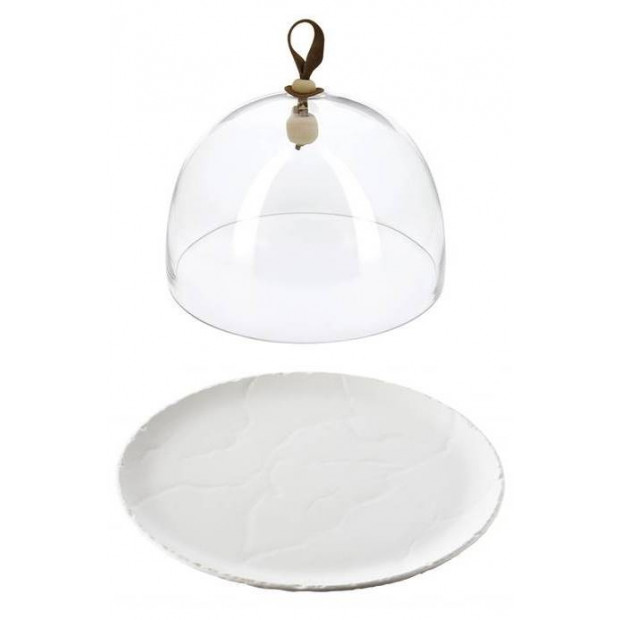 Basalt pearly white round plate and glass dome
