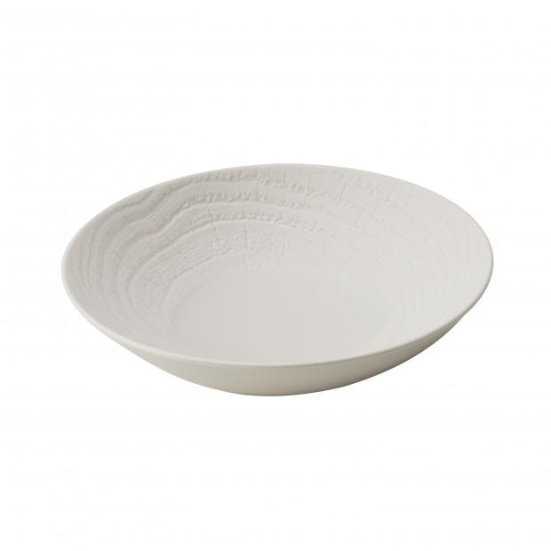 Assiette coupe en porcelaine effet bois - Ivoire