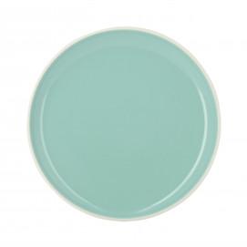 Assiette plate colorée en porcelaine - Vert Céladon
