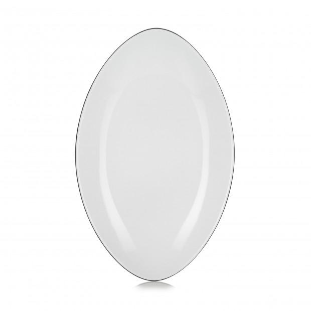 Assiette ovale en céramique - Blanc Cumulus