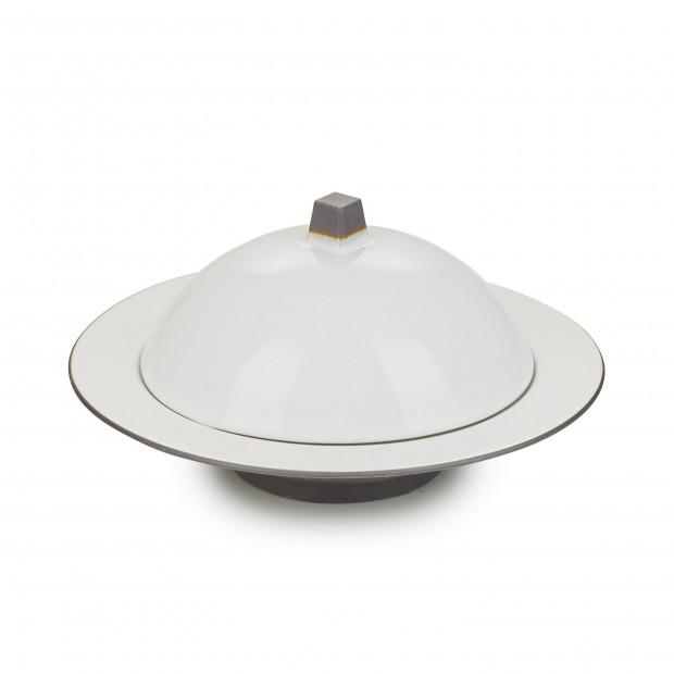 Ensemble Dim Sum cloche et assiette creuse en céramique - Blanc Cumulus