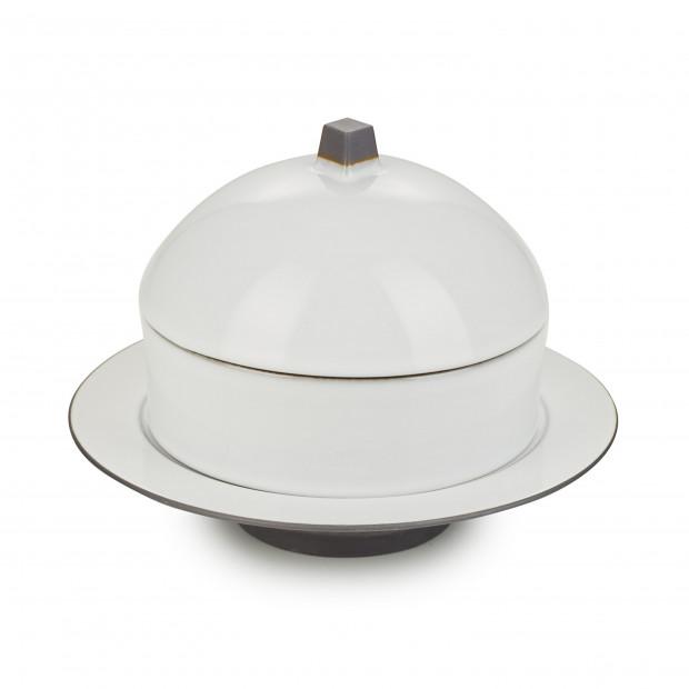 Set Dim Sum panier, cloche, assiette creuse céramique - Blanc Cumulus