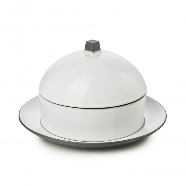 Set Dim Sum panier, cloche, assiette en céramique - Blanc Cumulus
