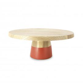 Plat à gâteau sur pied en bois - Orange Capucine