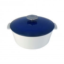 Cocotte ronde en céramique sans induction - Bleu Touareg