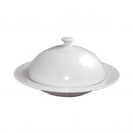 assiette creuse avec cloche en porcelaine blanche - les essentiels
