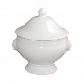 soupière tête de lion et son couvercle en porcelaine blanche - french classics