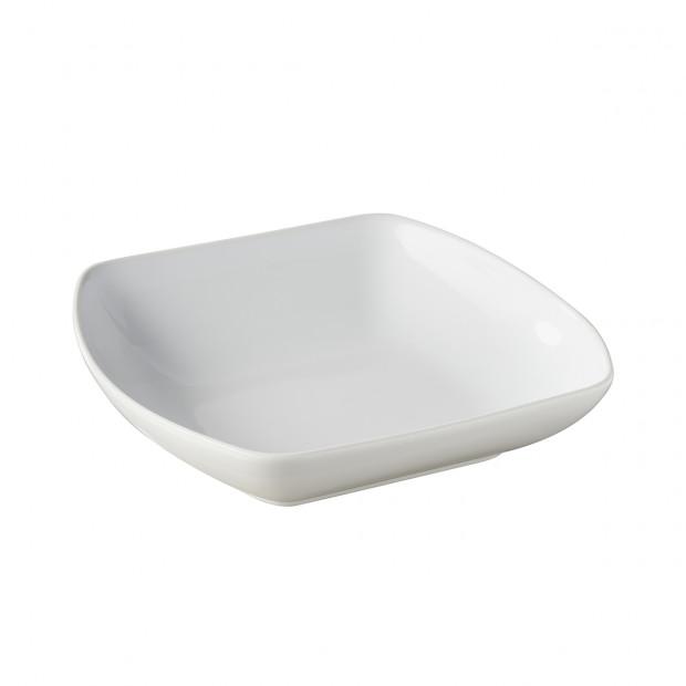 assiette carrée creuse en porcelaine blanche - club