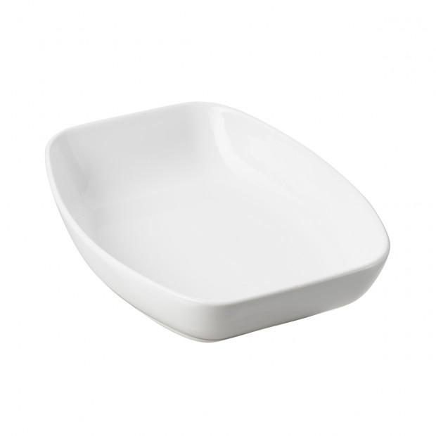 plat rectangulaire en porcelaine blanche - club