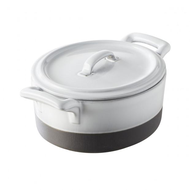 cocotte 45cl en porcelaine blanche avec couvercle - belle cuisine eclipse