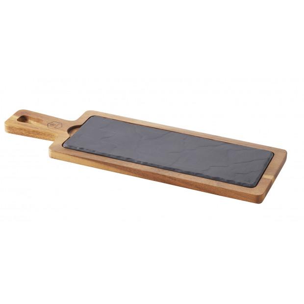 set de planches à apéritif en céramique et acacia - basalt