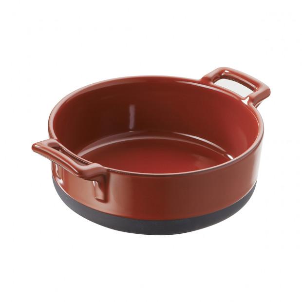 plat rond profond rouge en porcelaine - belle cuisine eclipse