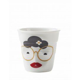 Froissé cappuccino décoré Mme binocle