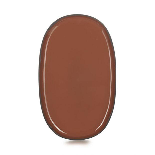 Assiette ovale Caractère 35 cm Cannelle