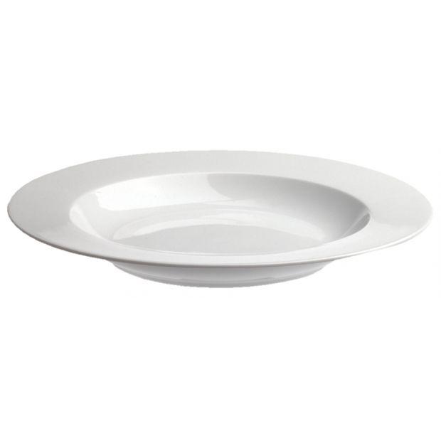 assiette creuse 30 cm en porcelaine blanche - les essentiels