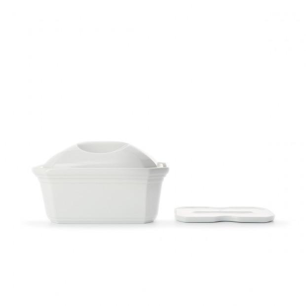 Terrine pâté rectangulaire en porcelaine avec couvercle et presse