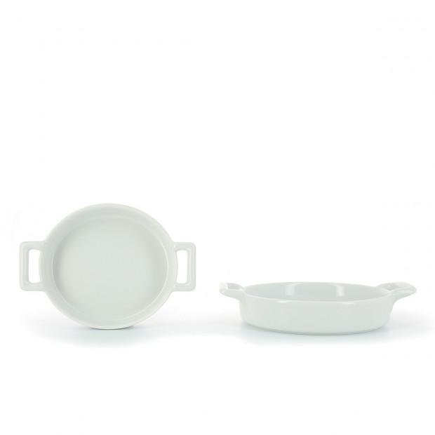 Cassolette ovale crème brûlée en porcelaine