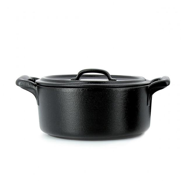 Cocotte ronde en porcelaine noire avec couvercle