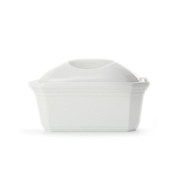 Terrine pâté rectangulaire en porcelaine blanche avec couvercle