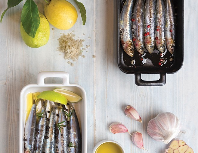 Fresh sardines with Brocciu and confit lemons