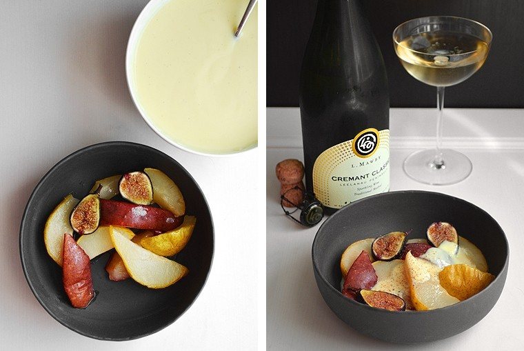 A Cook's Canvas Roasted caramelized figs and pears with Crème Anglaise