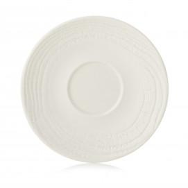 Wood-effect porcelain saucer - Ivory