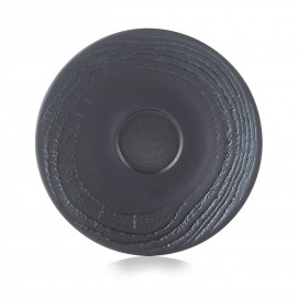 Wood-effect porcelain saucer - Liquorice