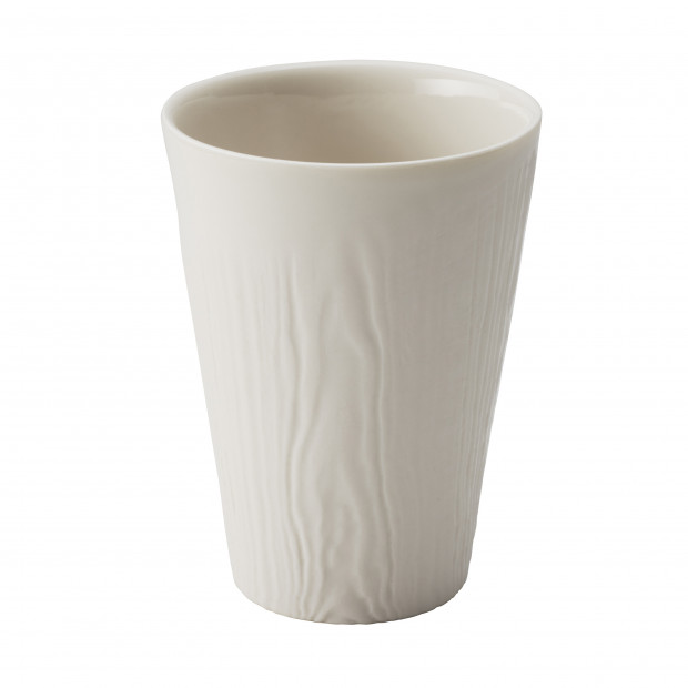 Wood-effect porcelain cup - Ivory