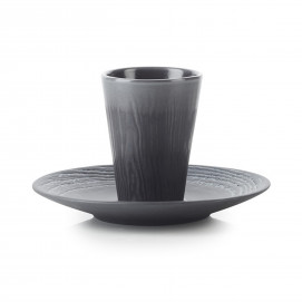 Wood-effect porcelain cup and saucer - Liquorice