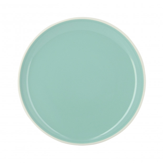 Coloured porcelain flat plate - Celadon Green
