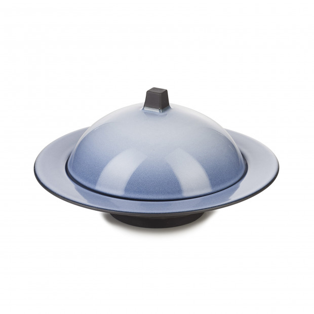 Dim Sum cloche and deep plate - Cirrus Blue