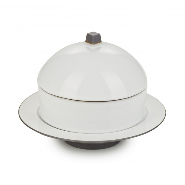 Dim Sum basket set with lid and ceramic plate - Cumulus White