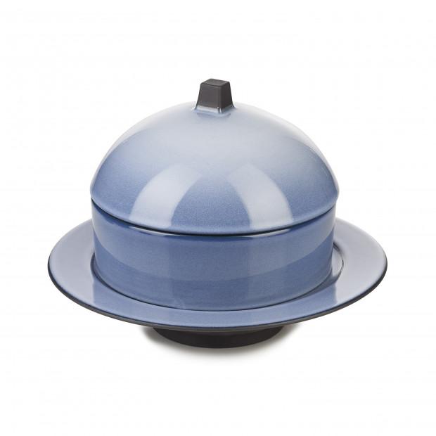 Dim Sum basket set with lid and ceramic plate - Cirrus Blue