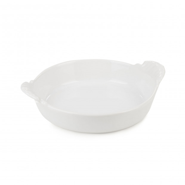 Round eared dish in porcelain - White