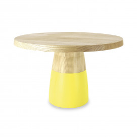 Tart dish with wood base - Citrus Yellow