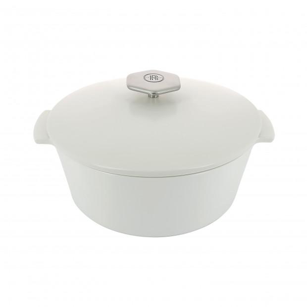 Round casserole dish in ceramics, non-induction - Kilimandjaro White
