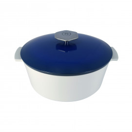 Round casserole dish in ceramics, non-induction - Touareg Blue