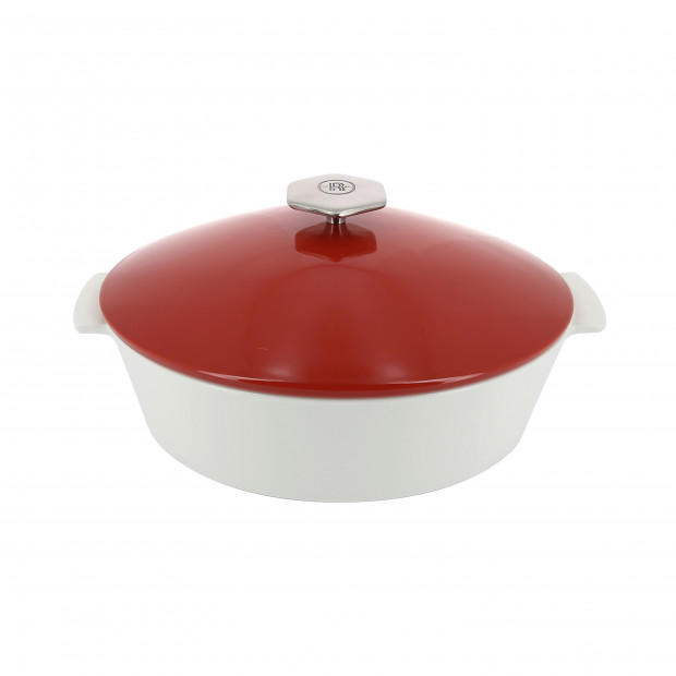 Oval casserole dish in ceramics, induction - Pepper Red