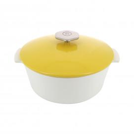 Round casserole dish in ceramics, non-induction - Seychelles Yellow