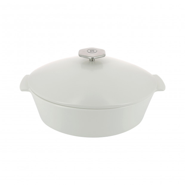 Oval casserole dish in ceramics, induction - Kilimandjaro White