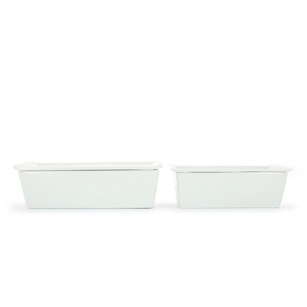 Rectangular white porcelain terrine dish with lid