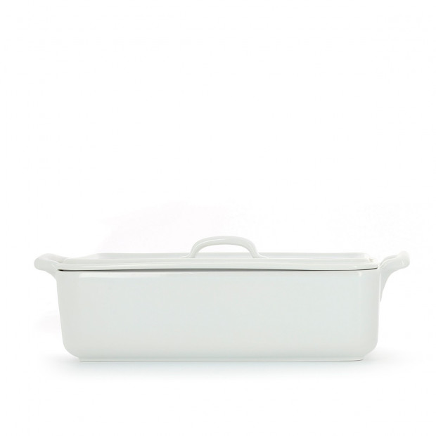 Rectangular porcelain terrine dish with lid